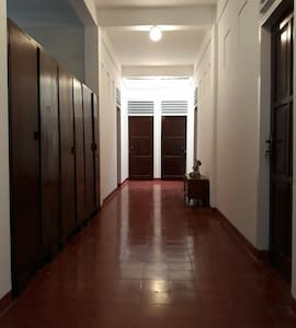 A stepfree hallway to the rooms