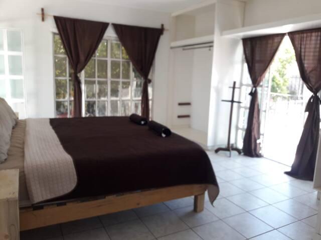 Recamara principal con cama king size, closet y amplio tocador, dos grandes ventanas con balcón y puerta con salida a la terraza.