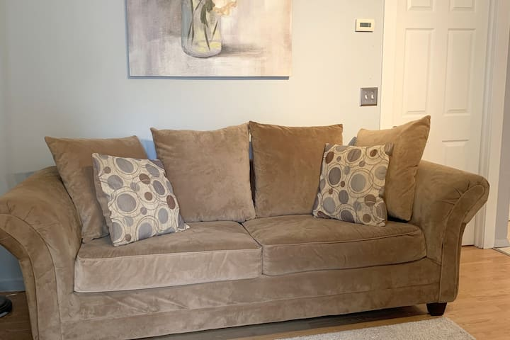 The living room includes a comfortable couch with a Queen size  Sofa Bed, and Television