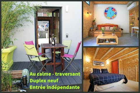 Appt-Loft, terrasse privée, verdure, 10min Genève