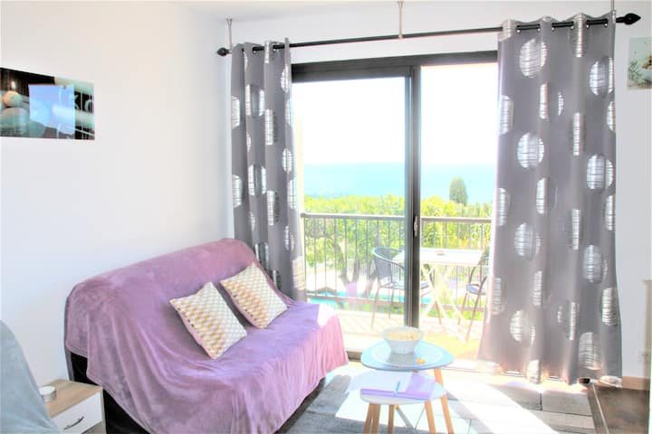 STUDIO 2* POOLHOUSE VUE MER SEAVIEW WIFI  ET LINGE