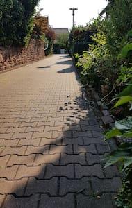Fußweg mit Laternenbeleuchtung bis zum Haus