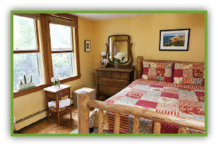 The Sunny-Side Room with Queen bed and private bathroom located right in the room.