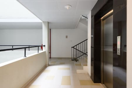 Elevator and stairs
