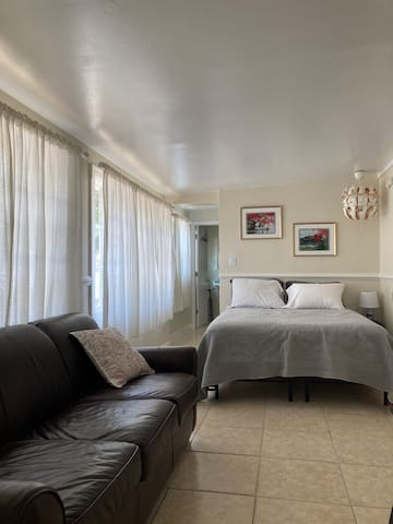 Living area with queen bed and queen pull out couch
