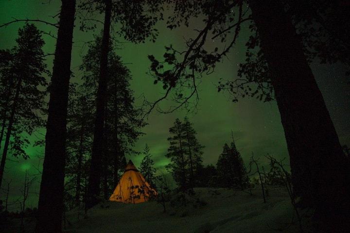 Northern light wintertipi overnighter in Lapland
