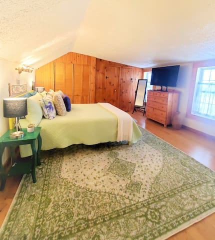 Loft bedroom with new bed and bedding in 2021!