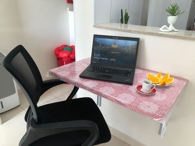 Home Office with fast wifi. Laptop is just for demonstration.