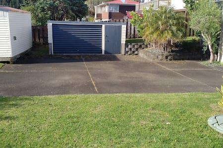 Large concrete patio to park any type car/van/minibus or campervan.