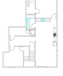 This is the floor plan. It shows wide hallways and doors. No steps/stairs for guests to navigate.