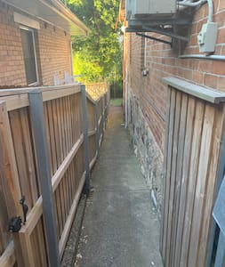 Pathway through to private entrance