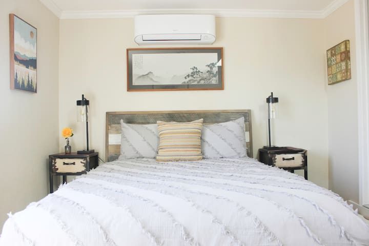 Sleep well on the pillow-top firm queen sized bed with 100% white cotton linens, removable duvet and cotton blanket, both laundered after each use. We make the bed with a lightweight comforter in summer, down comforter in winter.
