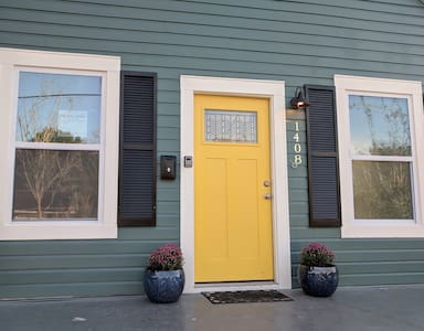 """Front door is 36"""" wide. There are steps leading up to the door."""