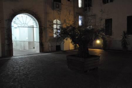 Dall'ingresso portone alla scala per raggiungere il secondo cortile non ci sono ostacoli ed è illuminato la sera. Ci sono tre gradini per il livello secondo cortile e un gradino per scendere nel secondo cortile.