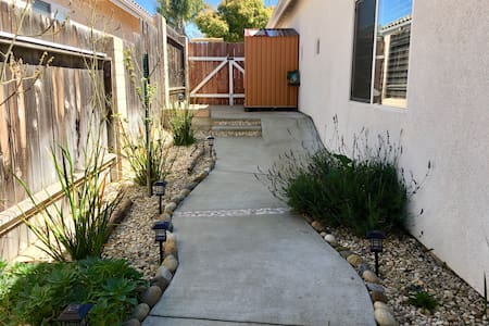 This shows the pathway after entering the property fence. It leads to the backyard patio and entrance to the master suite.