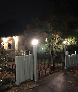 Street view of our gates and house lighting