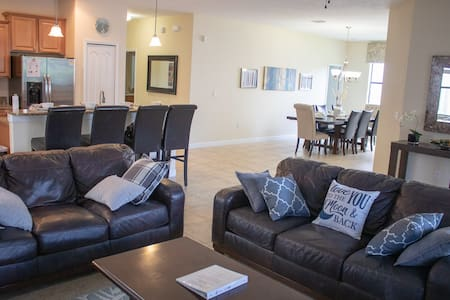 Open concept kitchen, dining and family area.  Bedrooms are located on the first floor.