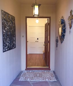 There are two small steps to navigate to the porch to enter.