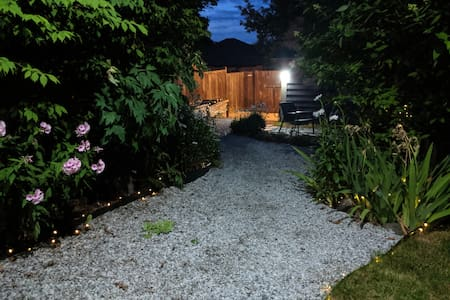 We have plenty of lights to guide you down the gravel garden pathway to the guest house.