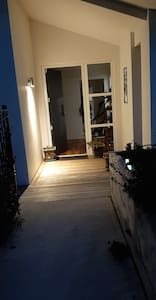 The path is easy to see with excellent street lighting and a sensor lighting.