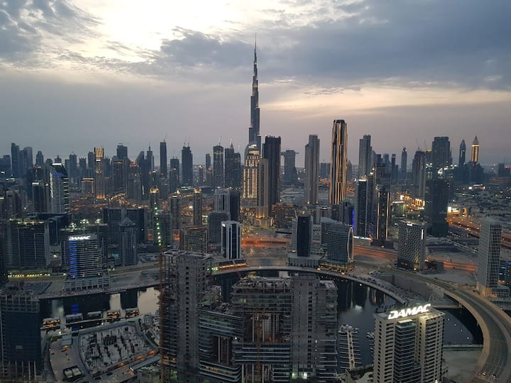 Sky line One BDR Apartment view of  Burj Khalifa