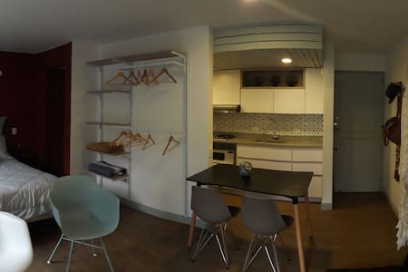 Internal view of the apartment. On the right side you see the main door
