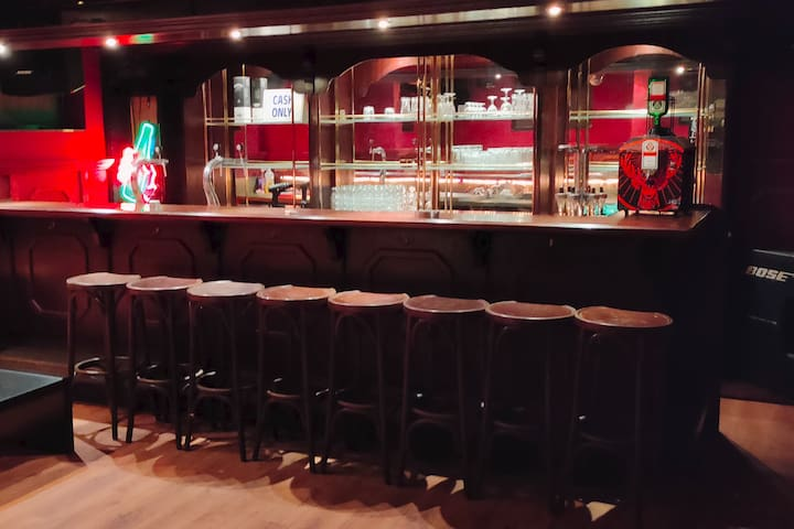 Original 50 years old classic bar in walnut and mahogany