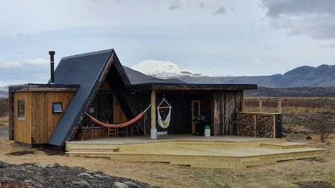 Cottage with sauna and view to Hekla mt.