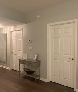 Open area around bedroom doors.