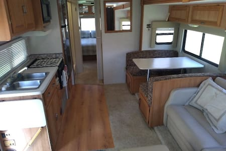 inside the RV the floor is flat with no steps