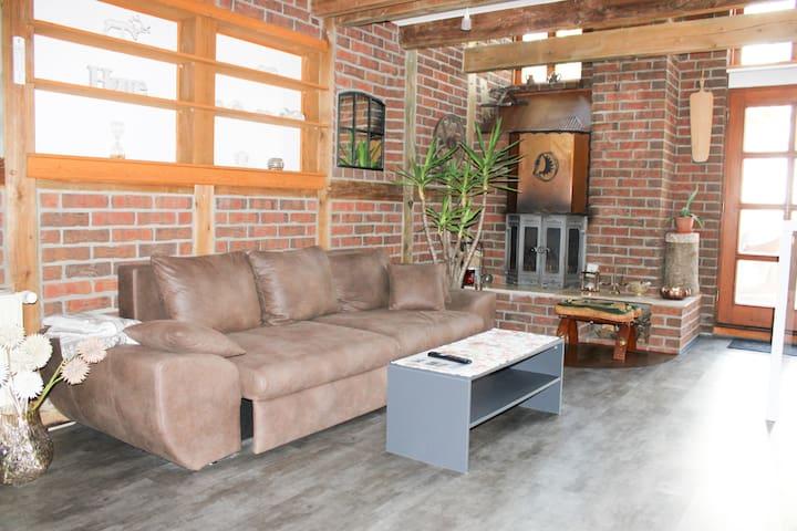 Wohnbereich (mit Schlafcouch), Küche und Kamin