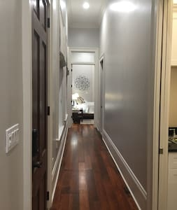 Wide hallways and door ways throughout .