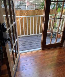 French door opening at top of front side ramp.