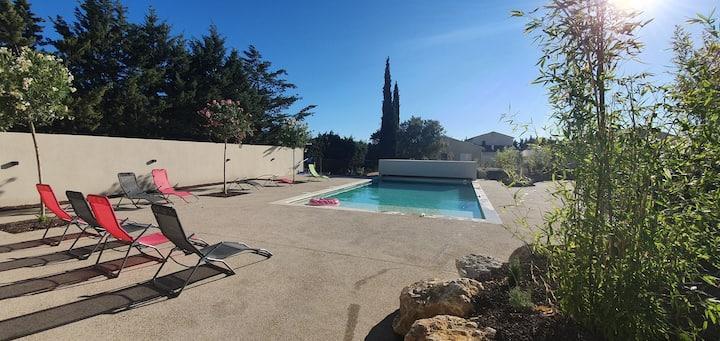 Gite climatisé, piscine chauffée commune