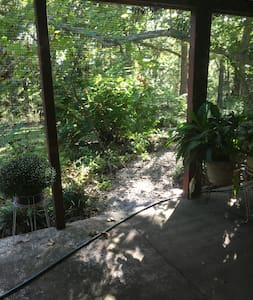 Gravel path leads to concrete patio where entrance door is located.  (Note:  Water hose would not be strung out when guests are here.)