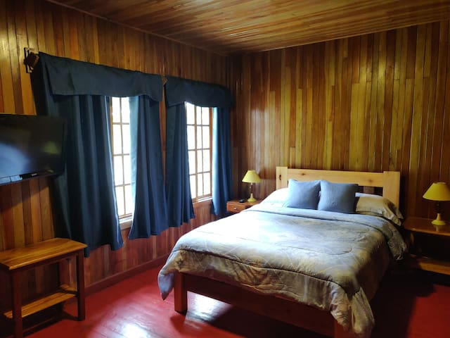 Master Bedroom with  Queen othorpedic bed & private bath ( hot water)