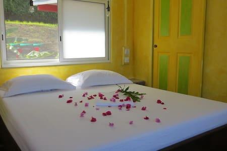 Coin chambre avec vue sur jardin et vue sur mer avec un lit King size