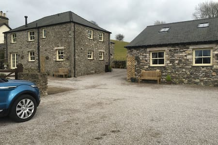 Car park to cottages and lodge.