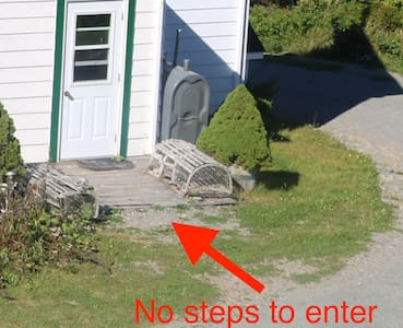 The path has a few bumps, but there are no steps from the driveway/parking to the back entryway.