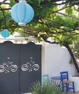 Brede ingangspoort met 2 deuren.