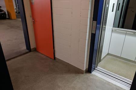 Hallway from underground parking to lift