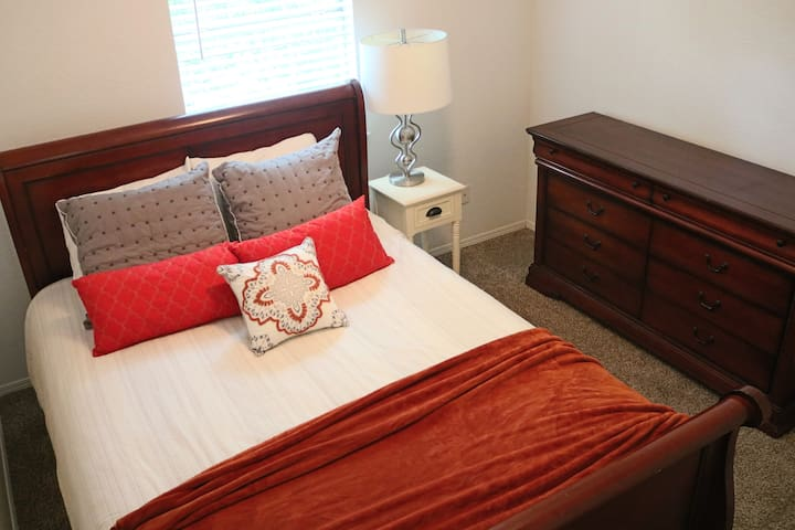 """This is the """"Private Queen Room"""" because it is a beautiful room with a queen bed, designed for privacy.  It is located upstairs along with the bunk room and spare bathroom."""