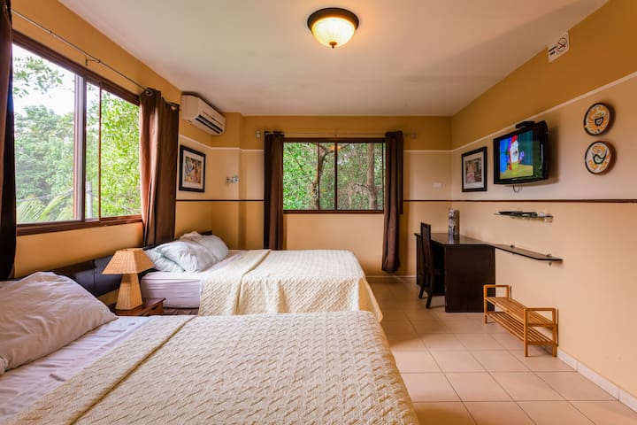 Room with 2 queen-size beds, 32inches TV   HD cable TV open high-speed wifi on the room, working desk, small fridge, A/C, private bathroom with a hair dryer