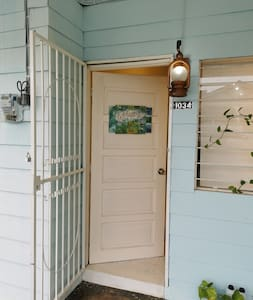 Wide wooden door entrance