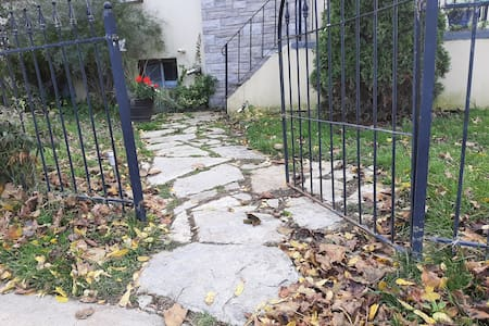 pathway to front entrance stairs.