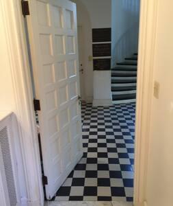Wide doors on first floor handicapped accessible bathroom