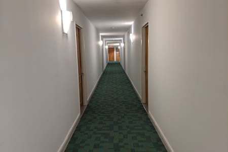 The hallway and the rear of the building has lights on 24/7.