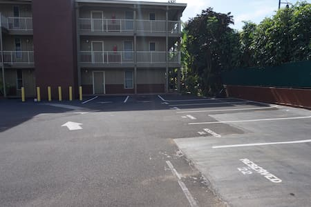 To the left of this picture there are handicap reserved parking.