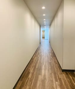 4'+ wide hallway into the apartment. No hallways in the unit itself.