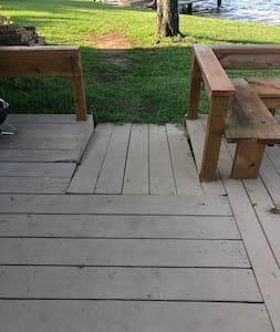 On back deck facing ramp...
